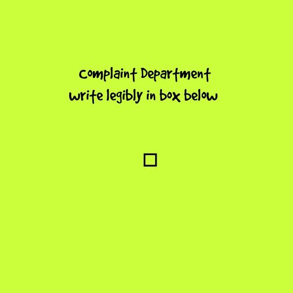 complaint dept. poster