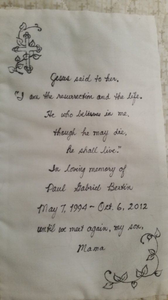 Paul's quilt dedication